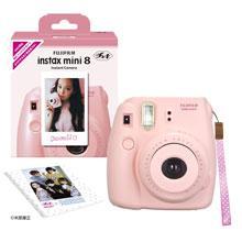 フジフイルム インスタントカメラ instax mini 8 「チェキ」 ピンク 純正ハンドストラップ付き