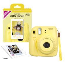 フジフイルム インスタントカメラ instax mini 8 「チェキ」 イエロー 純正ハンドストラップ付き